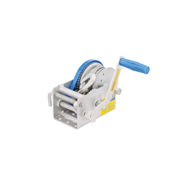 Marine winch 15:1/5:1/1:1 - 7.5m of 7mm cable with snap hook