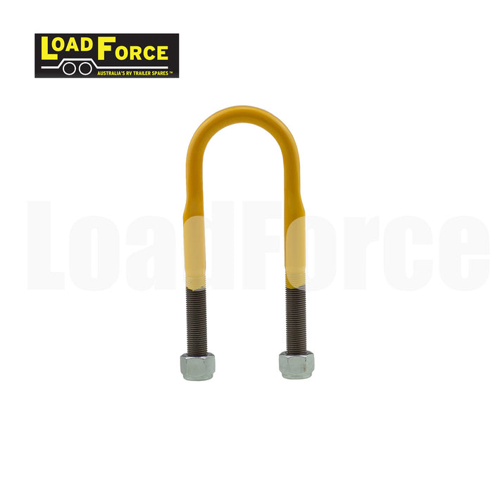 Rated 1/2in U-bolt 45mm round x 150mm long - Yellow