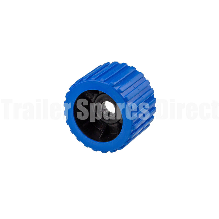 3 inch wobble roller ribbed blue - 20mm centre