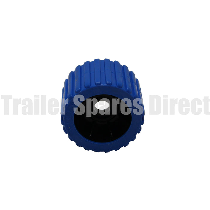 3 inch wobble roller ribbed blue - 26mm centre