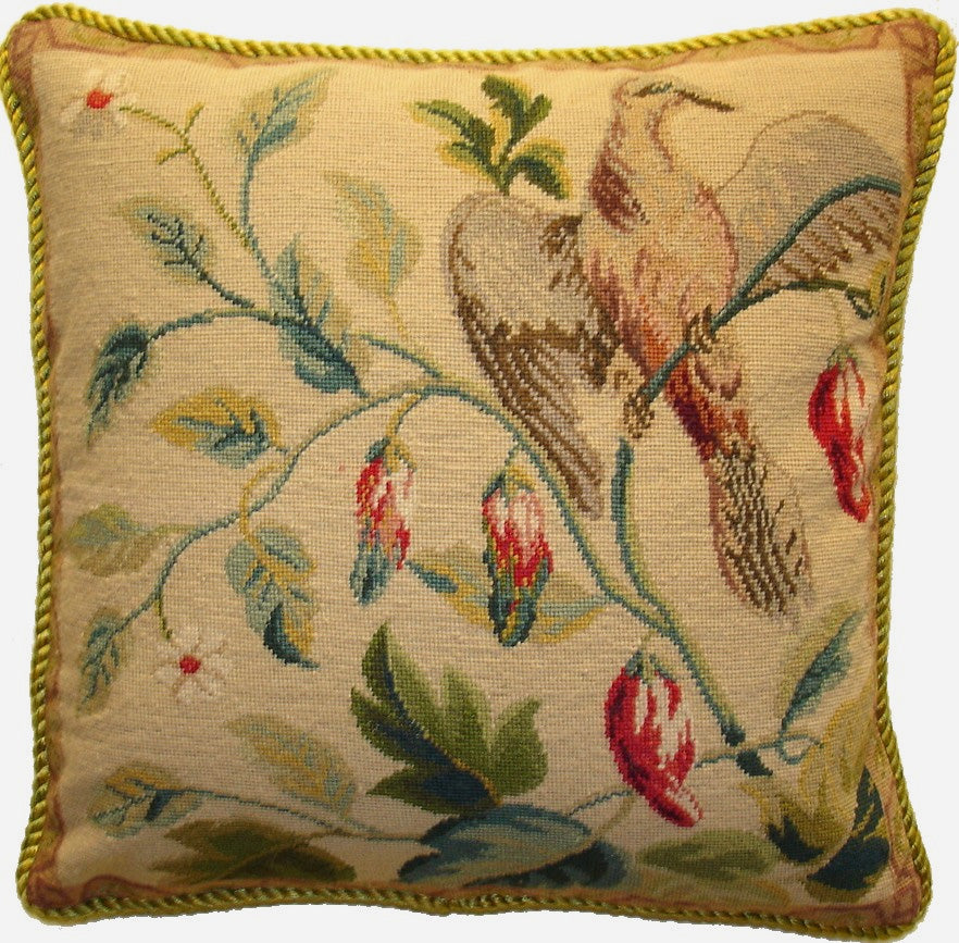 "Bird on Butterum - 16 x 16 "" needlepoint pillow (background is darker than image - it is Butterum color.)"