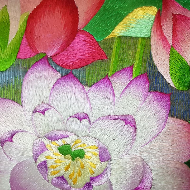 "Lotus Green Pure Silk Embroidered - 20"" x 20"""