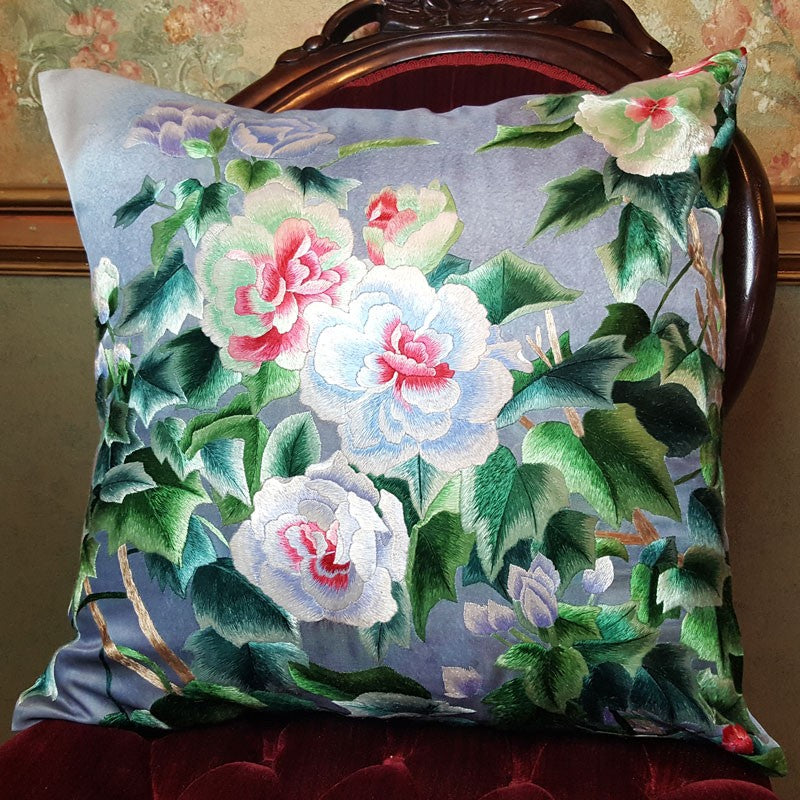 "White Blooms Pure Silk Embroidered - 20"" x 20"""