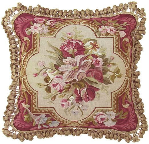 "Formal Pinks - 18 x 18 "" Aubusson pillow"