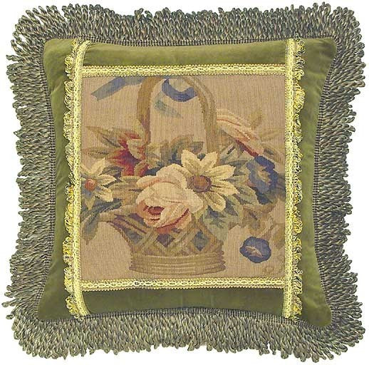 "Flower Basket with Bullion Fringe - 20 x 20 "" Aubusson pillow"
