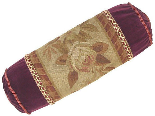 Maroon Bolster - 7 x 21 in. Aubusson pillow