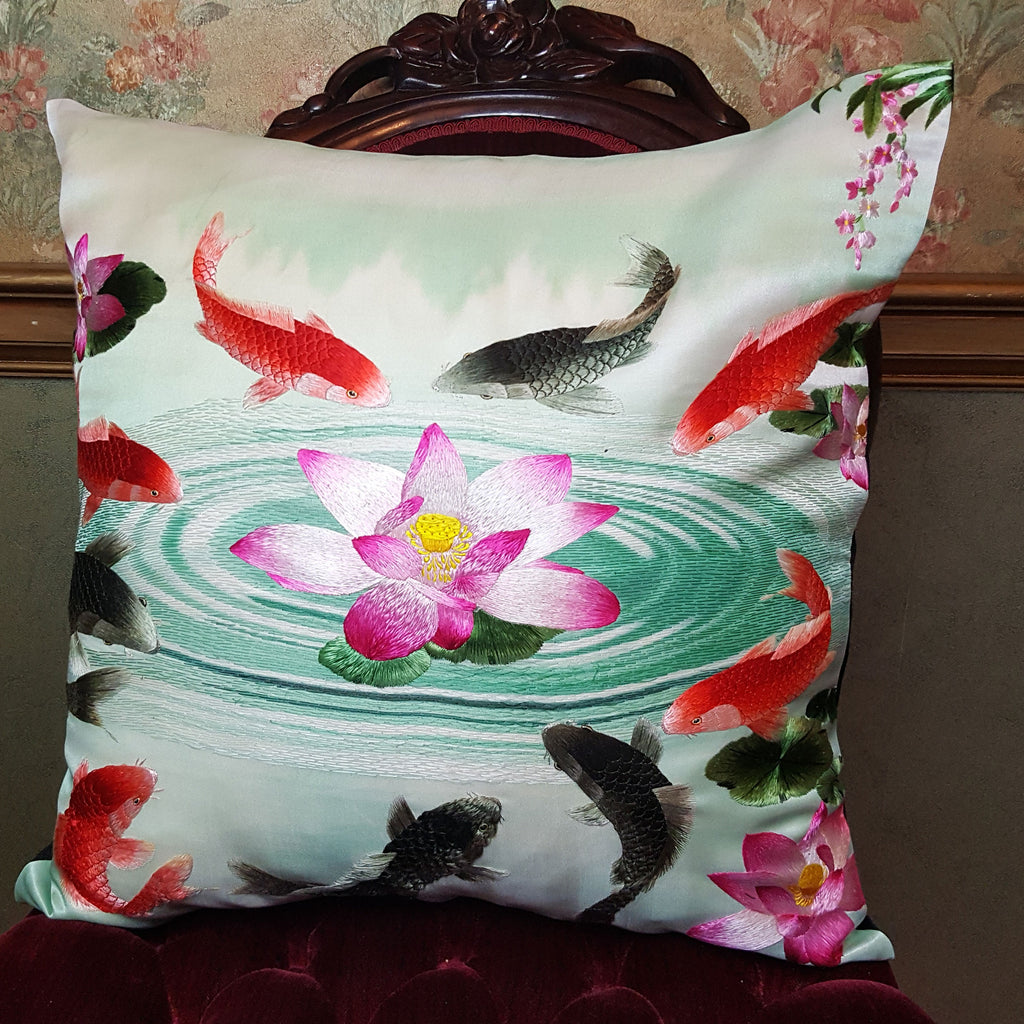 "Koi & Lily Silk Embroidered - 20"" x 20"""