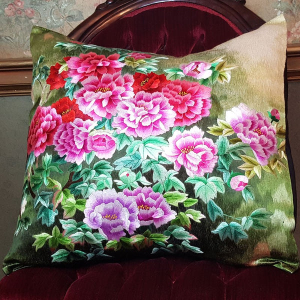 "Bloom Red Pure Silk Embroidered - 20"" x 20"""