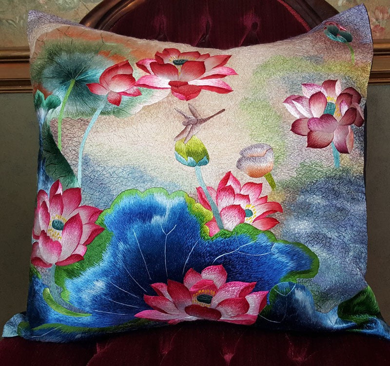 "Pink & Blues Pure Silk Embroidered - 20"" x 20"""