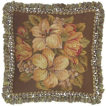 "White Bouquet on Brown - 18 x 18 "" Aubusson pillow"