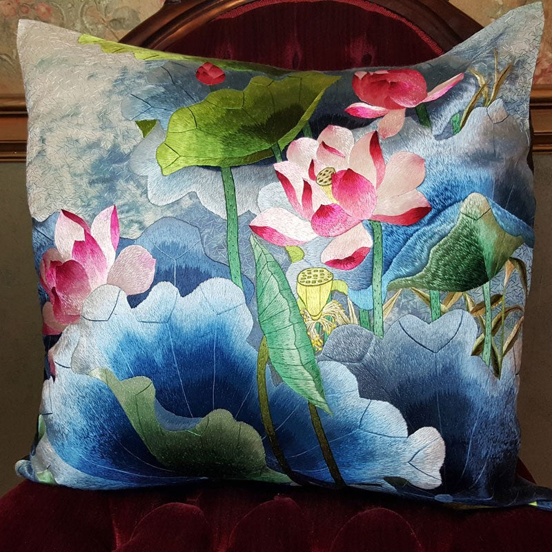 "Pink & Blues II Pure Silk Embroidered - 20"" x 20"""