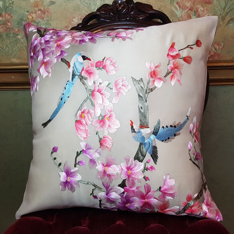 "Birds & Pink Pure Silk Embroidered - 20"" x 20"""