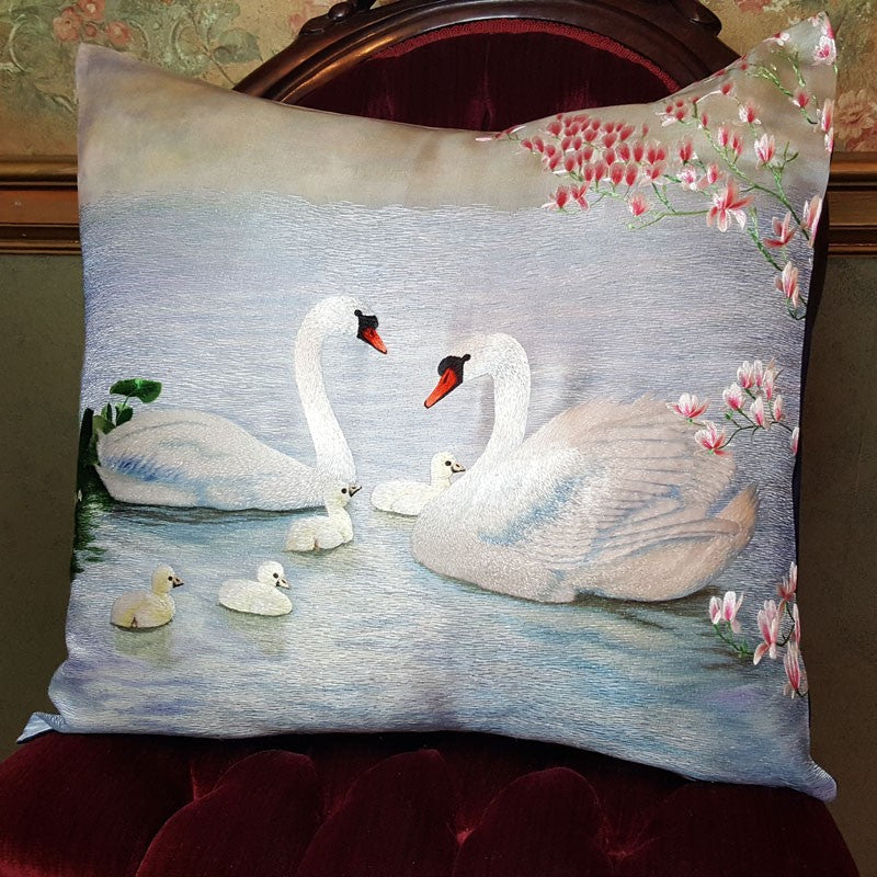 "Swans-a-swimming Pure Silk Embroidered - 20"" x 20"""