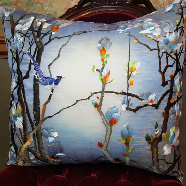 "Blue Woods Pure Silk Embroidered - 20"" x 20"""