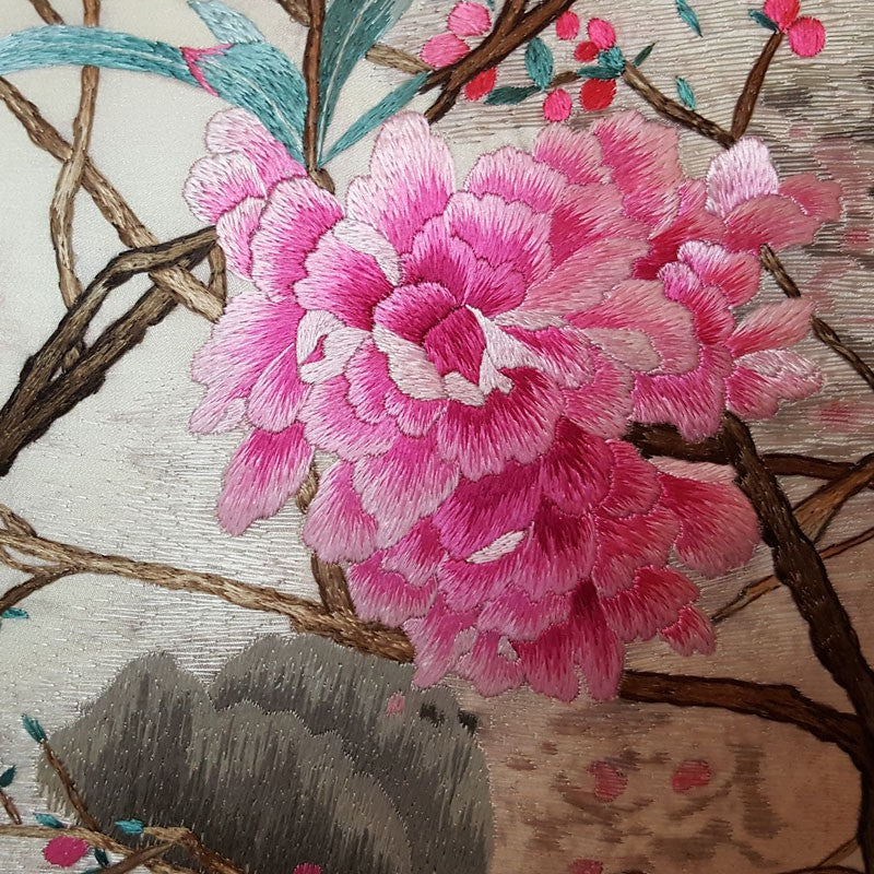 "Pink on White Pure Silk Embroidered - 20"" x 20"""