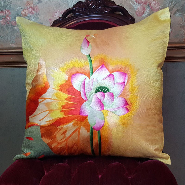 "Yellow Burst Pure Silk Embroidered - 20"" x 20"""