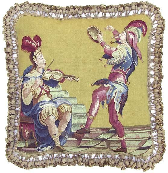 "AA- Royal Jesters - 20 x 20 "" Aubusson pillow"