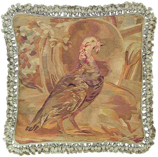 "AA- Turkey Facing Right - 22 x 22 "" Aubusson pillow"