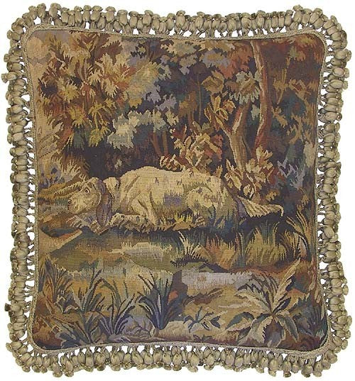 "White Dog Resting - 22 x 22 "" Aubusson pillow"