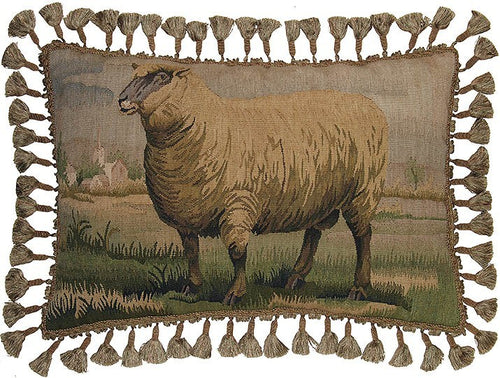 Sheep Facing Left - 16 x 24 in. Aubusson pillow