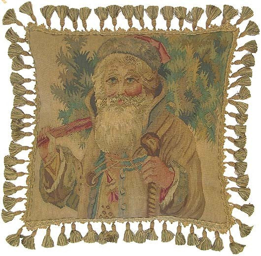 "Old Saint Nick - 20 x 20 "" Aubusson pillow"