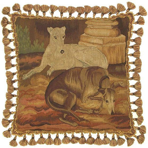 Two Dogs Resting - 22 x 22 in. Aubusson pillow