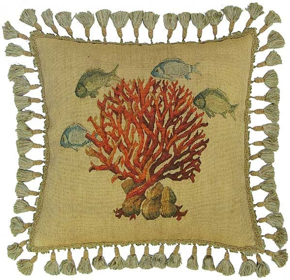 "Four Fish and Coral - 20 x 20 "" Aubusson pillow"