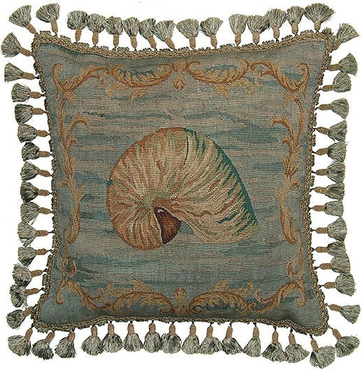 "Nautilus Shell in Teal - 20 x 20 "" Aubusson pillow"