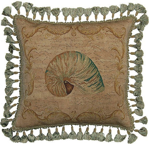 Nautilus Shell in Green - 20 x 20 in. Aubusson pillow