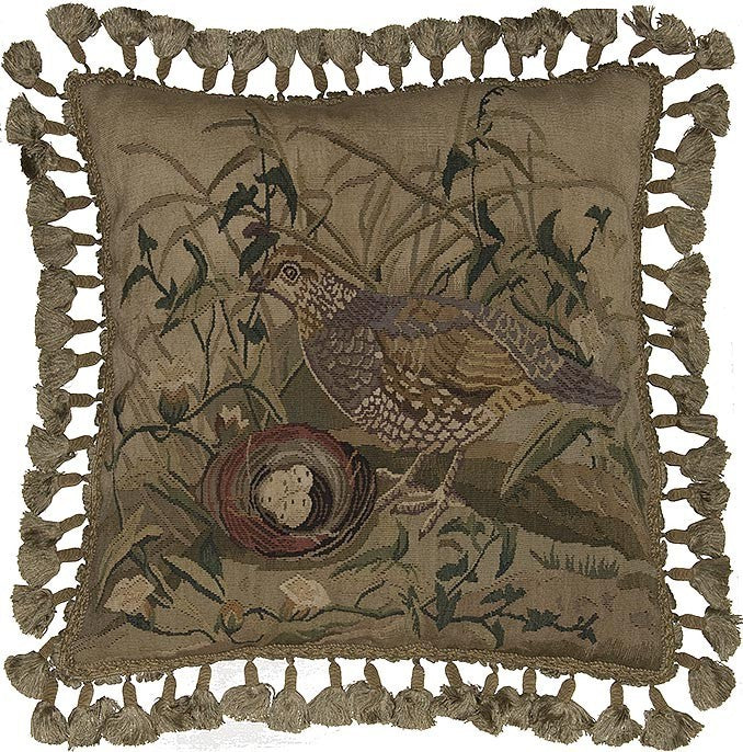 "AA- Three Eggs and Quail - 20 x 20 "" Aubusson pillow"