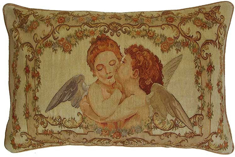 "Kissing Angels - 27 x 40 "" Aubusson pillow"