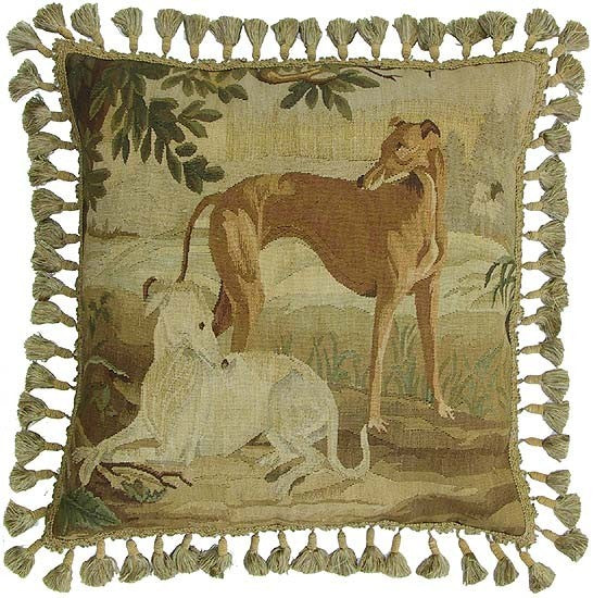 "Two Greyhounds - 22 x 22 "" Aubusson pillow"