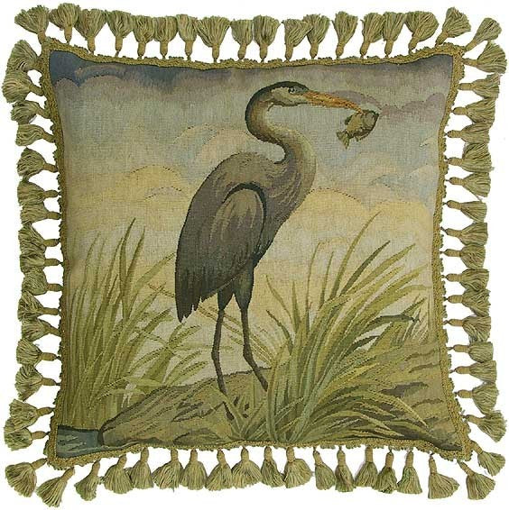 "Heron with Fish - 22 x 22 "" Aubusson pillow"