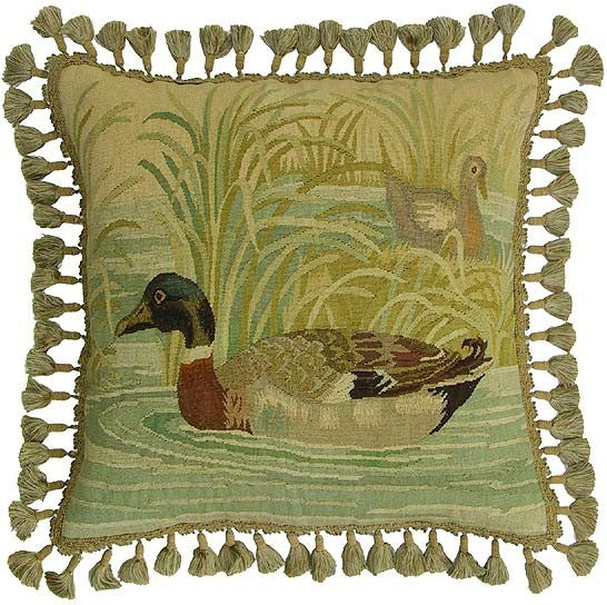 "Mallard Duck - 22 x 22 "" Aubusson pillow"