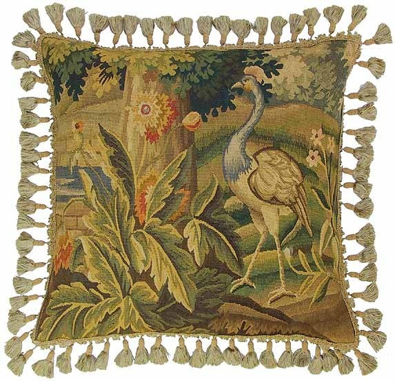 "Peacock and Tree - 22 x 22 "" Aubusson pillow"