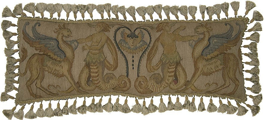 "AA- Study of Four Beast - 14 x 36 "" Aubusson pillow"