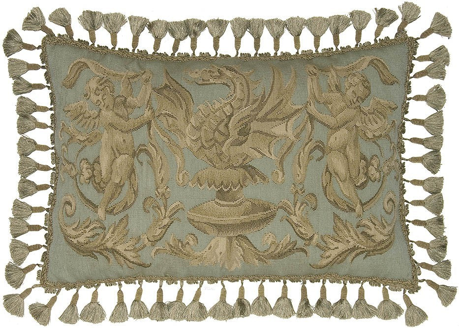 "AA- Two Cherubs and Dragon - 16 x 24 "" Aubusson pillow"