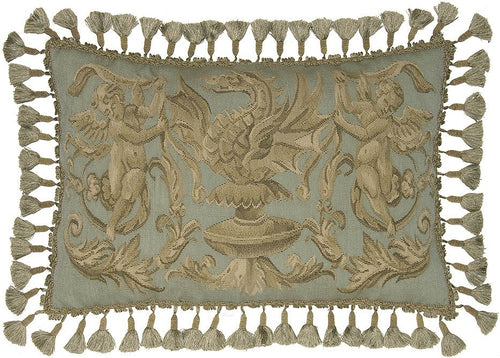 Two Cherubs and Dragon - 16 x 24 in. Aubusson pillow