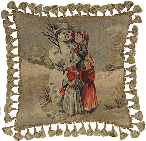 Children and Snowman - 20 x 20 in. Aubusson pillow