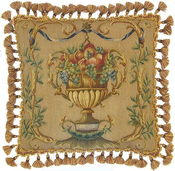 "Fruit Vase in Gold - 22 x 22 "" Aubusson pillow"