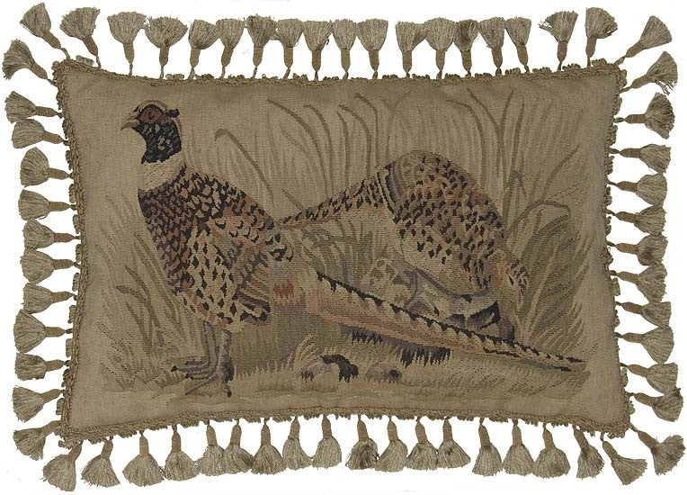 "AA- Two Spotted Pheasants - 16 x 24 "" Aubusson pillow"