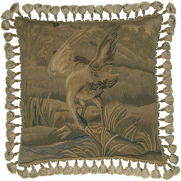 "AA- Water Bird in Green - 22 x 22 "" Aubusson pillow"