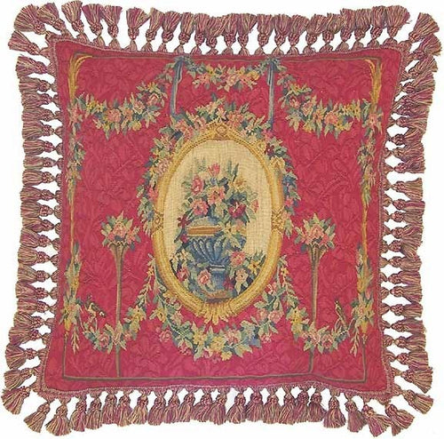 Circle of Gold on Red - 22 x 22 in. Aubusson pillow