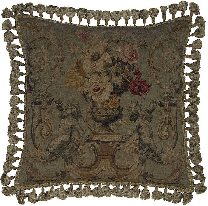 "Two Horns Blowing Dark - 24 x 24 "" Aubusson pillow"