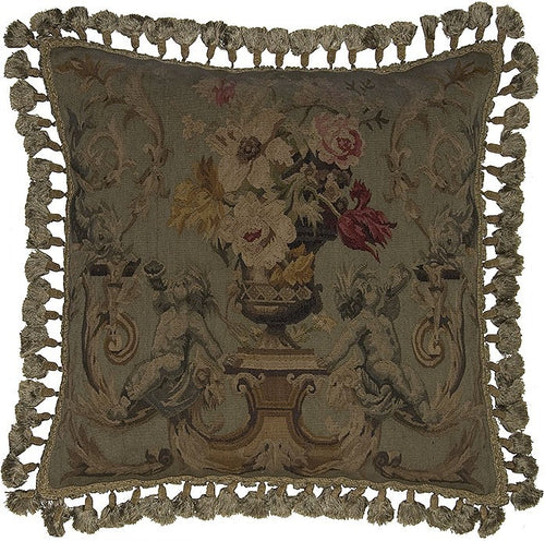 Two Horns Blowing Dark - 24 x 24 in. Aubusson pillow