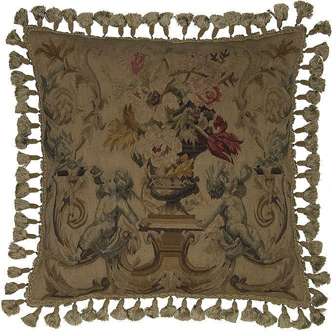 "AA- Two Horns Blowing Light - 24 x 24 "" Aubusson pillow"