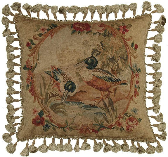 "Pink Circle of Birds - 20 x 20 "" Aubusson pillow"
