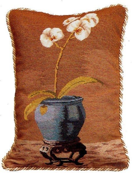 Blue Pot Orchid - 18 x 14 in. needlepoint pillow