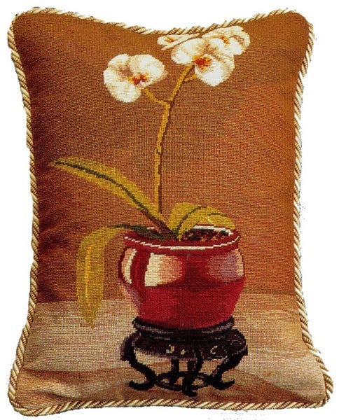 "Red Pot Orchid - 18 x 14 "" needlepoint pillow"