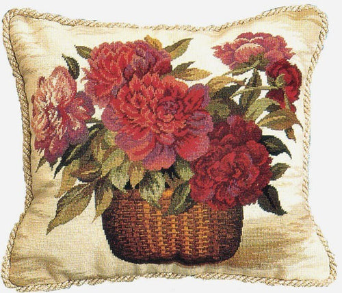 Peonies Delight - 16 x 18 in. needlepoint pillow